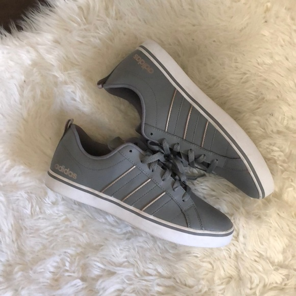 Adidas Gray And Rose Gold Neo Sneakers